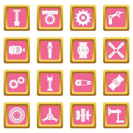 Techno mechanisms kit icons pink