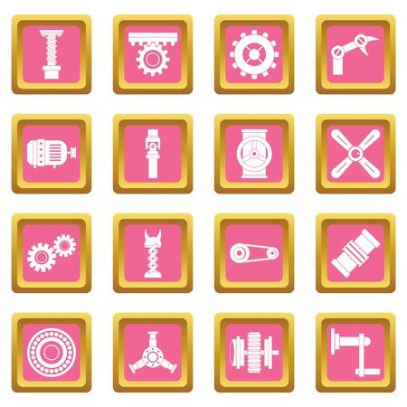 Techno mechanisms kit icons pink