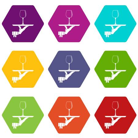 Waiter hand holding tray with wine glass icon set color hexahedron Illustration