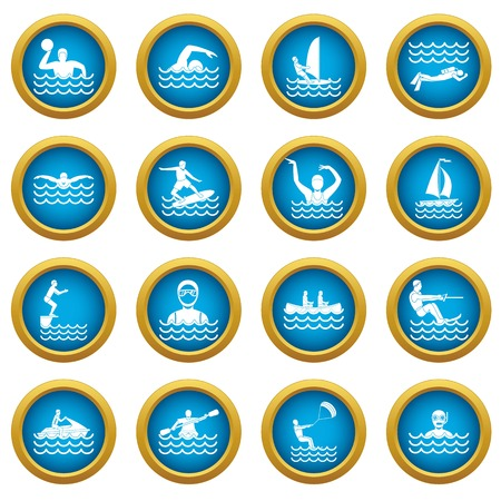 Water sport icons blue circle set vector illustration.