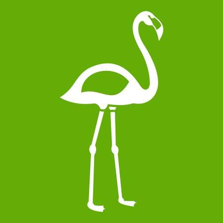 obelisco: Flamingo icon green vector illustration.
