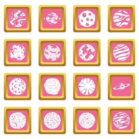 Fantastic planets icons pink vector illustration. Ilustrace