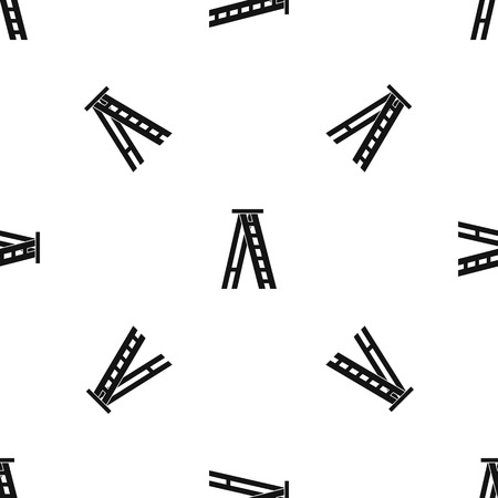 Stepladder pattern repeat seamless in black color for any design. Vector geometric illustration Illustration