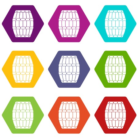 Barrel icon set color hexahedron vector illustration. Illustration
