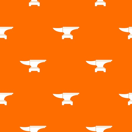 Heavy black metal anvil pattern repeat seamless in orange color for any design. Vector geometric illustration
