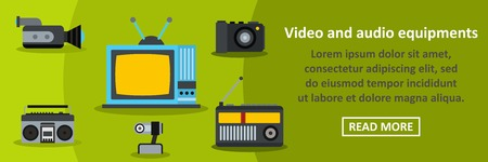memory card: Video and audio equipments banner horizontal concept. Flat illustration of video and audio equipments banner horizontal vector concept for web