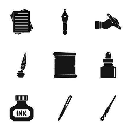 School pen icon set. Simple set of 9 school pen vector icons for web isolated on white background Illustration
