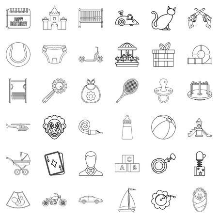 Childbearing icons set, outline style Illustration