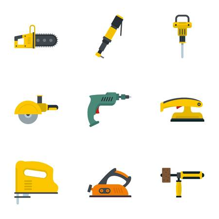 Construction electric tool icon set, flat style Illustration