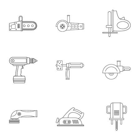 Electric power tool icon set, outline style