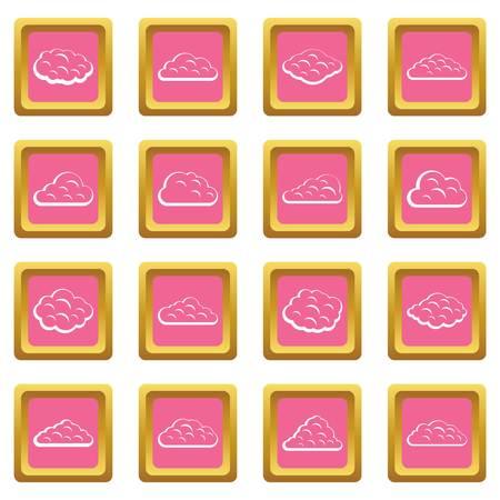 Wolken pictogrammen roze