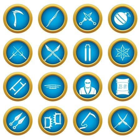 ninja tool: Ninja tools icons blue circle set