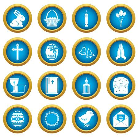 chick: Easter items icons blue circle set