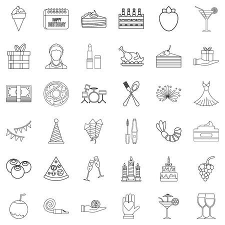 champagne celebration: Entertainment icons set, outline style Illustration