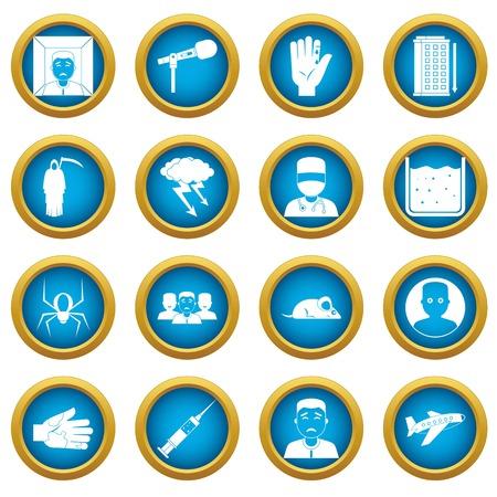 Phobia symbols icons blue circle set