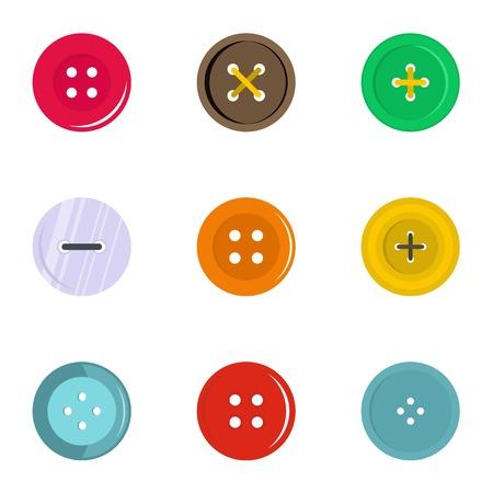 円形服ボタン アイコン セット、フラット スタイル