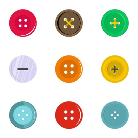 Circular clothes button icon set, flat style Stock Illustratie