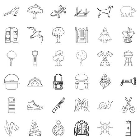 butterfly isolated: Compass icons set, outline style