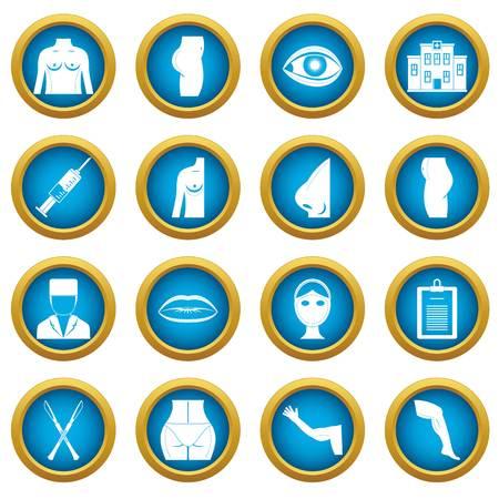 Plastic surgeon icons blue circle set