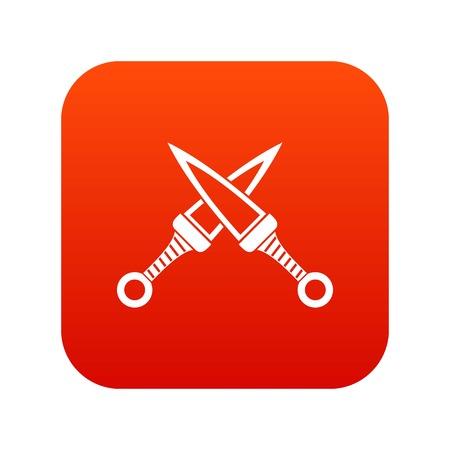 ninja tool: Crossed japanese daggers icon digital red Illustration