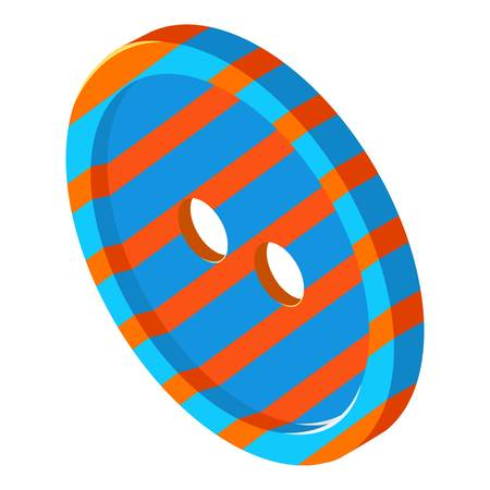 Striped button icon, isometric 3d style