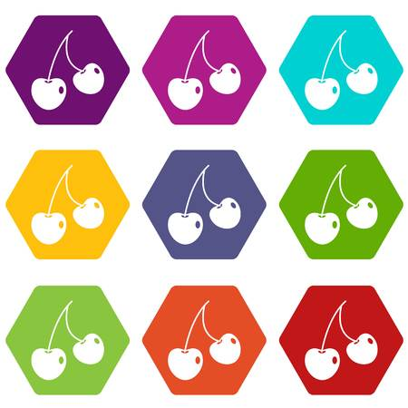 Two cherry berries icon set color hexahedron