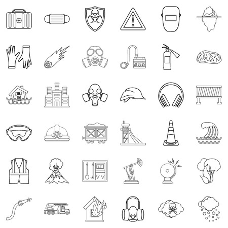 alarming: Alarming icons set, outline style