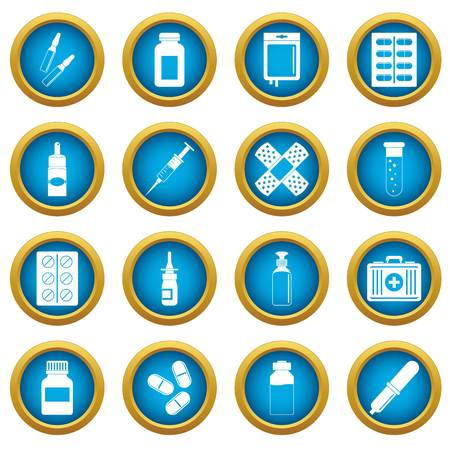 Different drugs icons blue circle set