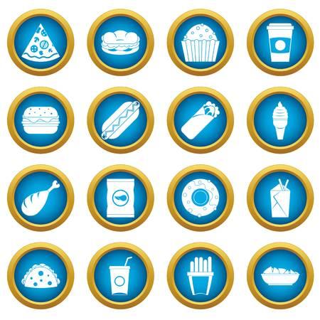 hot dog: Fast food icons blue circle set