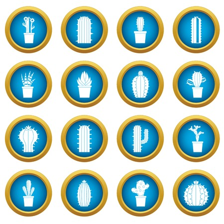 Different cactuses icons blue circle set