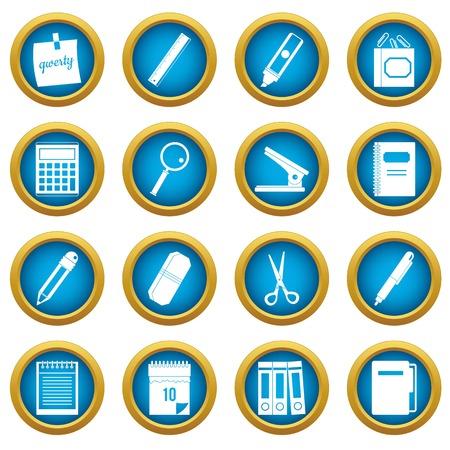 Stationery symbols icons blue circle set
