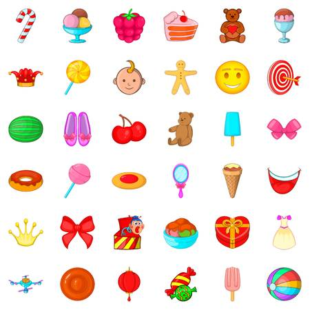 Cake icons set, cartoon style Illustration