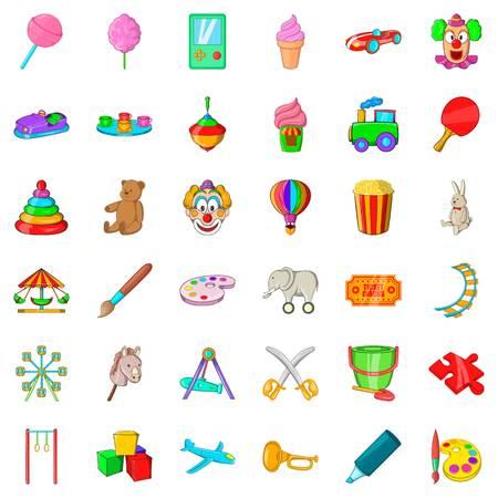 cartoon umbrella: Darts icons set, cartoon style