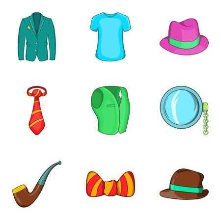 Men accessories icons set, cartoon style