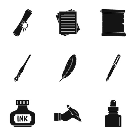 Retro pen icon set. Simple set of 9 retro pen vector icons for web isolated on white background