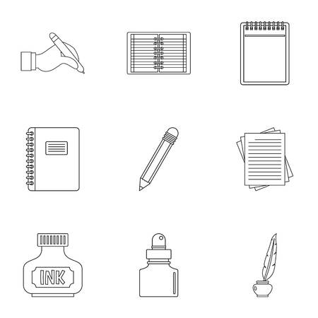 Writer pen tools icon set. Outline set of 9 writer pen tools vector icons for web isolated on white background