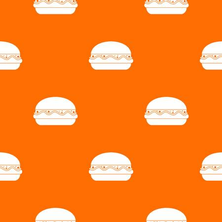 Burger pattern repeat seamless in orange color for any design. Vector geometric illustration
