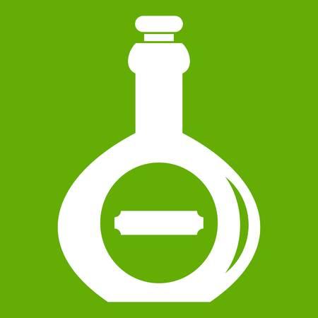 Bellied bottle icon white isolated on green background. Vector illustration Illustration