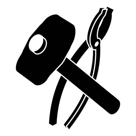 Hammer clamping mites icon. Simple illustration of hammer clamping mites vector icon for web