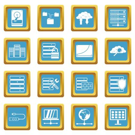 Database icons set in azur color isolated vector illustration for web and any design Illustration