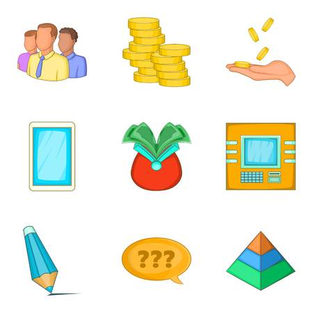 Cash contribution icons set. Cartoon set of 9 cash contribution vector icons for web isolated on white background