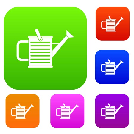Watering can set icon in different colors isolated vector illustration. Premium collection