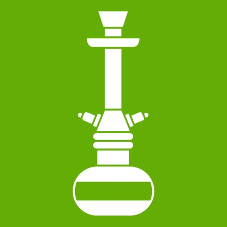Arabic hookah icon white isolated on green background. Vector illustration