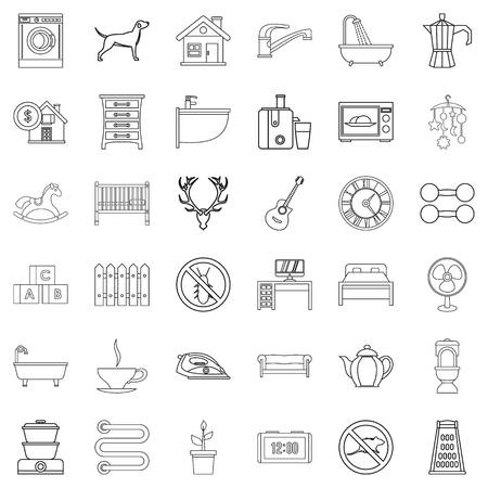 Shower icons set. Outline style of 36 shower vector icons for web isolated on white background