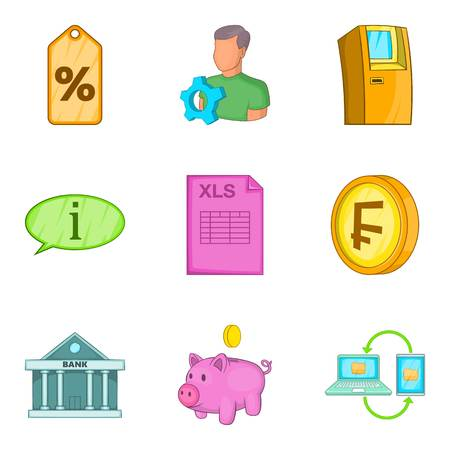 finance department: Cash accounting icons set, cartoon style Illustration