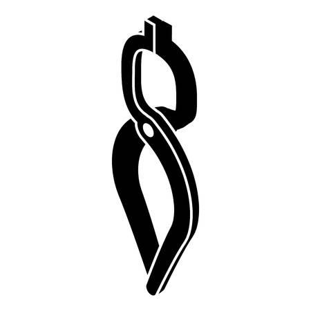 Blacksmith tong icon, simple black style