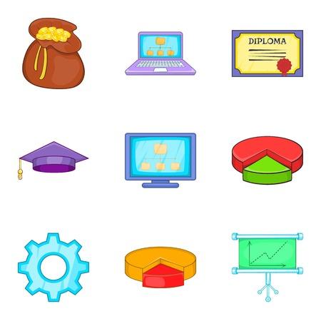 finance department: Survey icons set, cartoon style Illustration