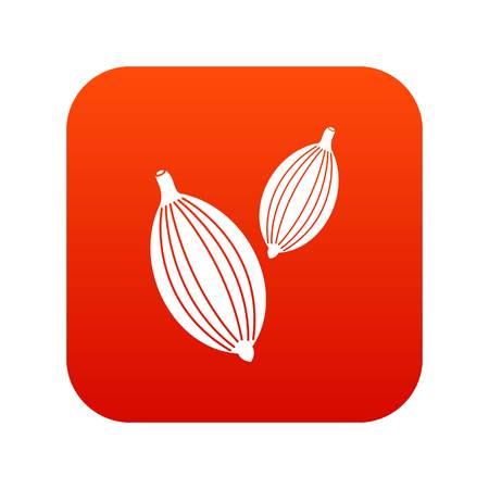Cardamom pods icon digital red Illustration