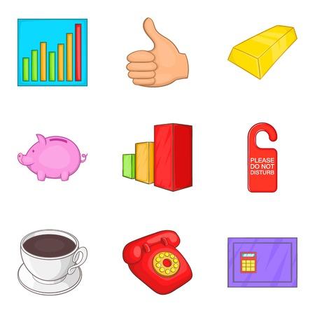 stocktaking: Inventory icons set, cartoon style Illustration