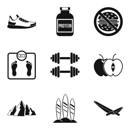 Protein icons set, simple style
